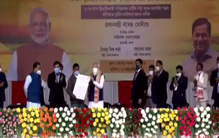 Over one lakh indigenous landless people of Assam receive land Pattas from Prime Minister at Sivasagar in Assam